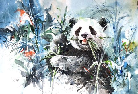Обои Рисунок панды который ест бамбуковые ветки и листья, среди травы и цветов