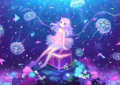 Обои Голубоглазая девочка в подводном мире сидит на сундуке в окружении медуз и кораллов, художник Inase