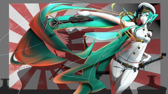 Обои Vocaloid Hatsune Miku / Вокалоид Хатсуне Мику в парадной военной форме на фоне японского флага