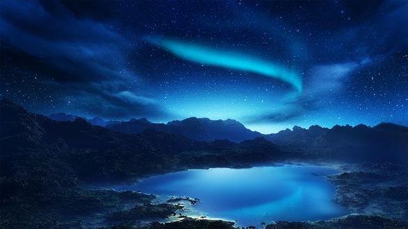 Обои Горное озеро звездной ночью