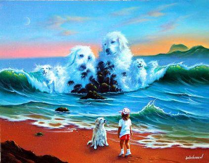 Обои Девочка стоит с собакой на берегу моря и смотрит на огромные волны в виде белых собак, Jim Warren