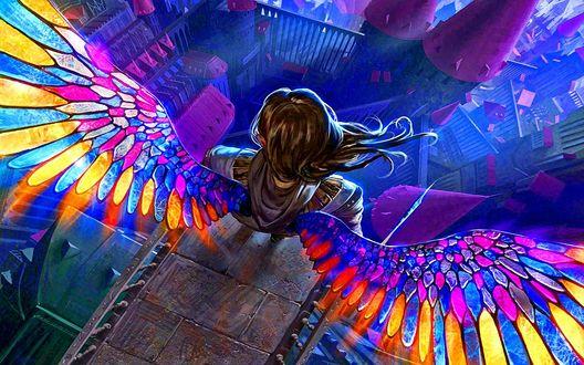 Обои Ангел с разноцветными крыльями стоит на краю площадки над раскинувшимся внизу городом