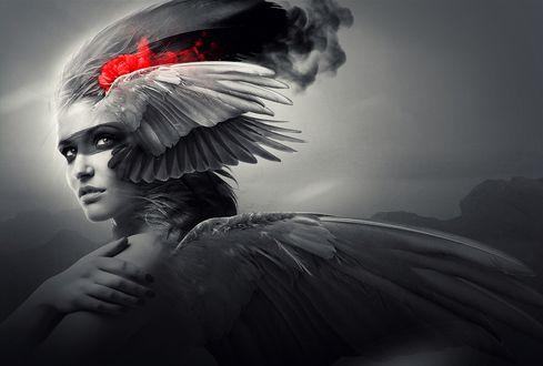 Обои Девушка Ангел с крыльями за спиной и на голове, с красными цветами в волосах