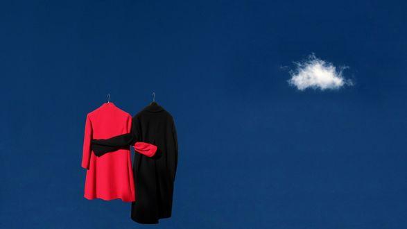 Обои Дамское алое пальто в обнимку с черным мужским на фоне синего неба с маленьким облачком