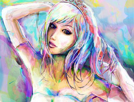 Обои Цветной рисунок девушки с диадемой на голове, Fantasy Art
