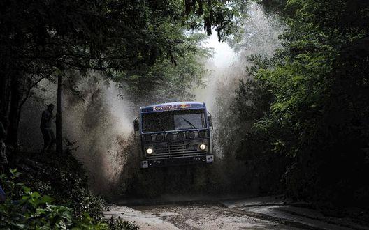Обои Авто Камаз на ралли Париж-Дакар в лесу