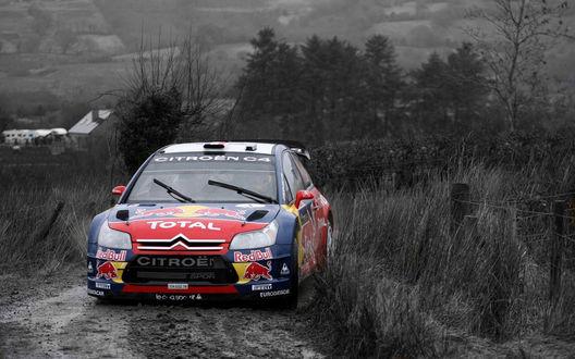 Обои Авто Citroen-ds3-rally-wrc едет по трассе