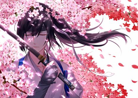 Обои Парень с катаной среди ветвей цветущей сакуры