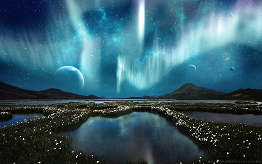 Обои Северное сияние на ночном звездном небе с планетами и цветущее поле, с закрытыми водоемами на фоне гор, by k-i-mm-i-e