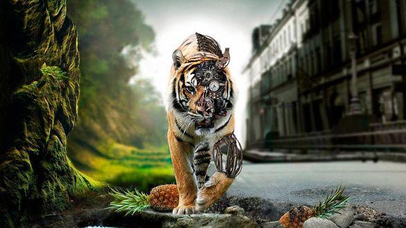 Обои Тигр робот с поврежденной частью туловища, с выглядывающими деталями, идет по улице города