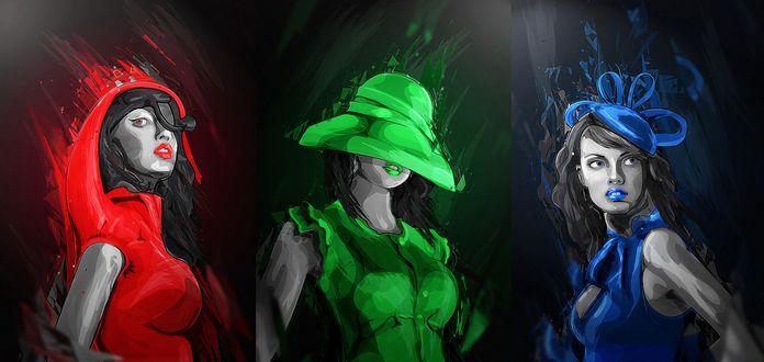 Обои Три гламупные девушки в красной, синей, зеленой одеждах
