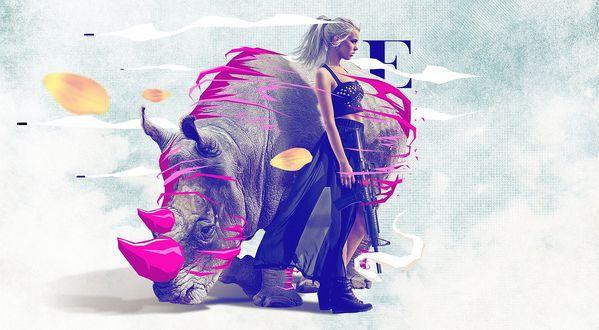 """Обои Девушка в черном стоит с автоматом в руке возле носорога с красными рогами и красной абстракцией, над ними летят желтые лепестки цветов, на заднем плане написана литера Е, графический дизайнер »Mike Campau"""""""