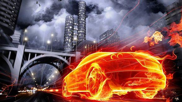 Обои Огненное легковое авто, объятое пламенем, мчится по трассе