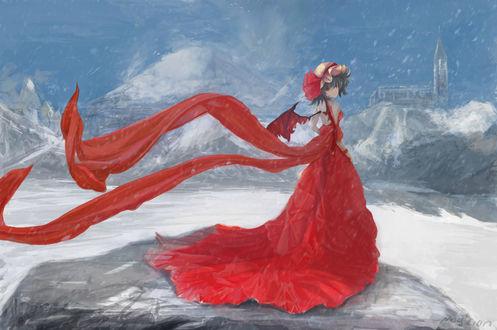Обои Remilia Scarlet / Ремилия Скарлет из игры Проект Восток / Touhou Project в красном платье со шлейфом среди снега и льда, MagiCion