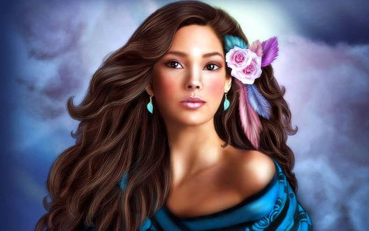 Обои Портрет девушки с цветами в волосах