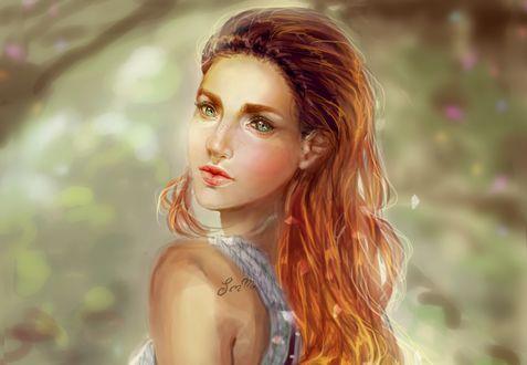 Обои Портрет девушки на размытом фоне