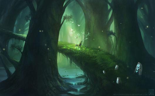 Обои Дух леса стоит напротив камней с таинственными знаками, на огромной ветке дерева, поросшей мхом