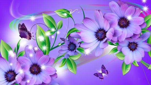 Обои Бабочки летают над розовыми цветами с листьями, на которых капли воды