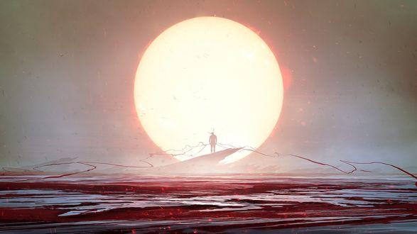 Обои Мужчина с рогами стоит на обломке скалы на фоне огромного диска Солнца и водной глади, автор Kuldar Leement