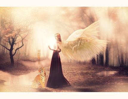 Обои Девушка с крыльями ангела смотрит в сторону, у ее ног сидит тигренок возле лужи и еще один тигр приближается издали