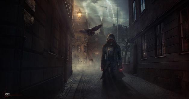 Обои Мужчина в плаще и железной броне, от рук которого исходит красное свечение, идет по городу, за ним летят вороны