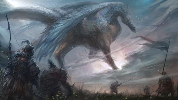 Обои Воины в доспехах со знаменем и крылатый дракон на поле боя