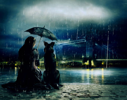 Обои Девушка и пес сидят под зонтом под дождем, на берегу реки напротив моста