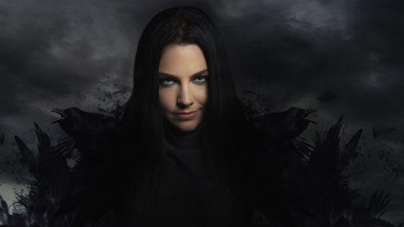 Обои Американская певица-поэтесса и пианистка, вокалистка и клавишница группы Evanescence Эми Ли / Amy Lynn Hartzler / в готическом стиле с черными воронами