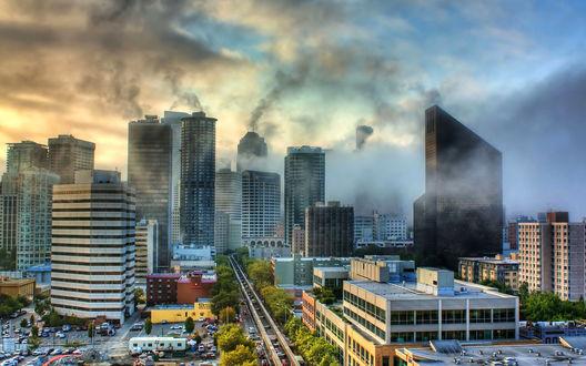 Обои Дымный смог над огромным городом