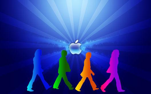 Обои Логотип Apple Beatles, звукозаписывающая студия Apple и группа Beatles