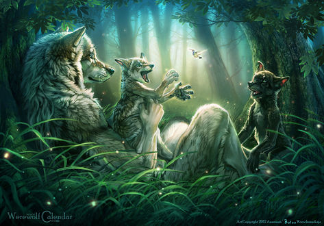 Обои Волчица и ее волчата в лесу играют с птичкой, автор Anastasia Korochansckaja