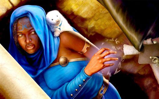 Обои Темнокожая девушка в синих восточных одеждах с белым грызуном на плече, при помощи магии пытается извлечь пистолет из кобуры стоящего рядом человека