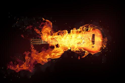 Обои Гитара в огне