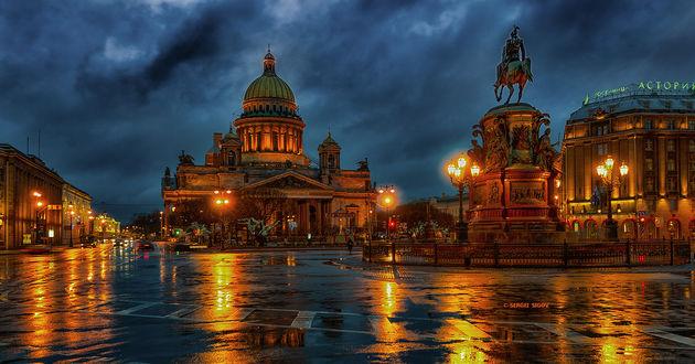 Обои Ночной Питер после дождя
