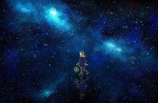 Обои Мальчик с фонарем, в котором горит звезда, идет по зеркальной поверхности, на фоне ночного звездного неба