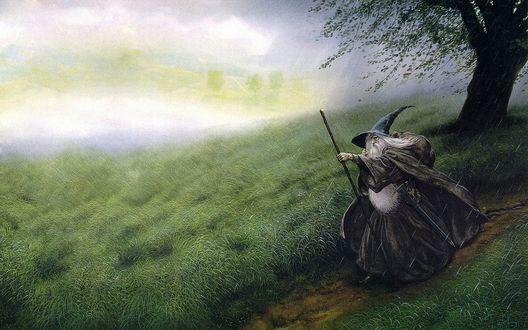 Обои Гэндальф / Gandalf/ — один из центральных персонажей легендариума Джона Р. Р. Толкина, в частности, повести Хоббит, или Туда и обратно и романа Властелин Колец, идет по дороге