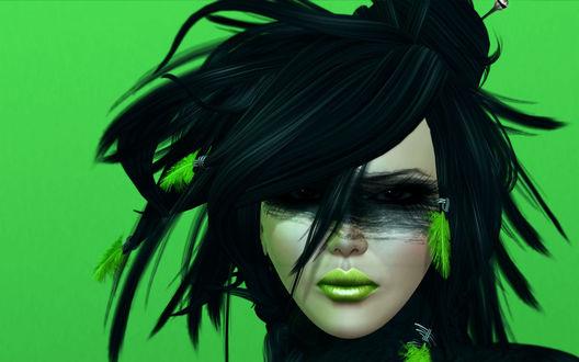 Обои Гламурная девушка с с зелеными перышками в черных волосх, с зеленым макияжем губ, с черным макияжем вокруг глаз, на зеленом фоне