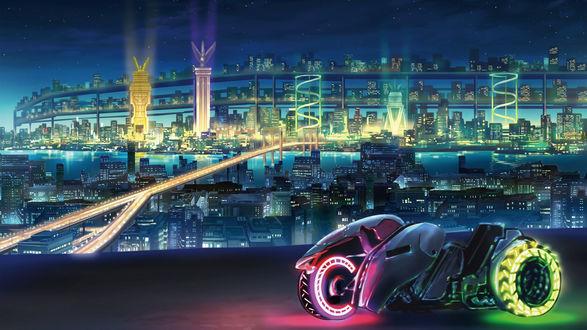 Обои Крутой байк будущего с разноцветной подсветкой колес, стоит на дороге, вдали виден ночной город