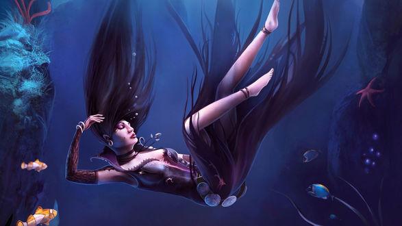 Обои Девушка в черном платье, с распущенными длинными черными волосами, опускается на дно морское