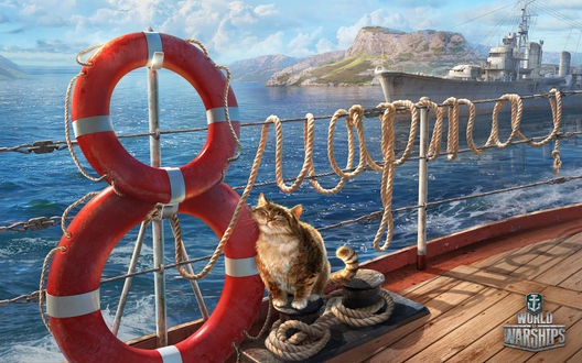 Обои Кот сидит на палубе корабля прижавшись к спасательным кругам, которые поставлены друг на друга в виде цифры восемь, а из каната выведено слово Марта, на фоне моря, корабля и гор, из игры World of Warships