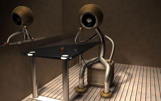 Обои Грустный робот сидит на стуле опершись рукой о стол