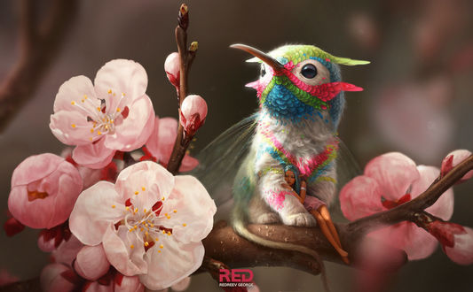 Обои Девушка - эльф спит в объятиях сказочной птички с крылышками стрекозы и хвостом мыши, сидящей на ветке с цветами, by RedreevGeorge