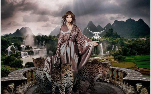 Обои Девушка в шелковом халате стоит на фоне местности с горами, водопадами, лесами, полями, на каменной террасе здания с тремя леопардами и ей на руку садится белый голубь