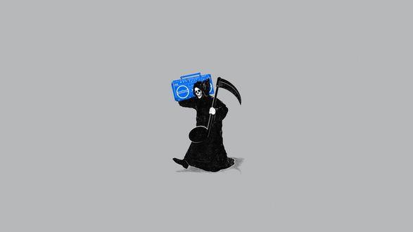 Обои Смерть идет в черном балахоне, с магнитофоном на плече и музыкальной нотой, вместо косы на плече
