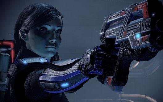 Обои Девушка с ранцем за спиной целится с пистолета, персонаж Mass Effect — компьютерной игры в жанре ролевого боевика, разработанная студией BioWare и выпущенная Microsoft Game Studios в 2007 году, первая часть серии Mass Effect