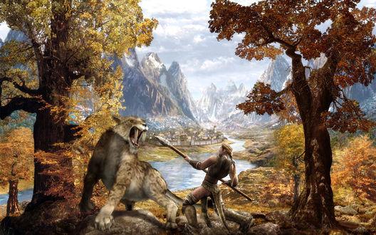 Обои Воин с копьем сражается в лесу с саблезубым леопардом, вдали за рекой виднеется город, у подножья заснеженных гор