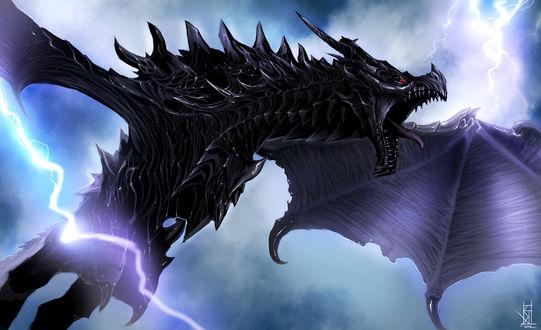 Обои Разяренный дракон летит среди молний из игры The Elder Scrolls 5, Skyrim