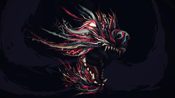 Обои Абстрактное изображение фантастического цветного хищника с огромными зубами