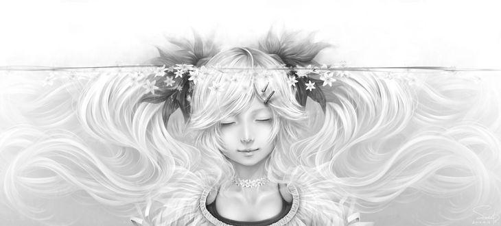 Обои Vocaloid Hatsune Miku / Хатсунэ Мику под водой, возле ее головы плавают цветы, art by Bouno Satoshi