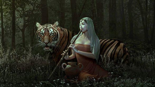 Обои Девушка, сидя в лесу, играет на дудочке рядом лежащему тигру
